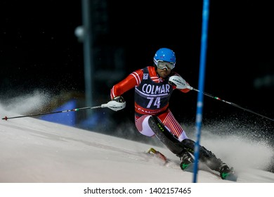 Madonna di Campiglio, Italy 22 December 2016. TOLA Erjon (Alb) competing in the Audi Fis Alpine Skiing World Cup Men's Slalom on the 3Tre Canalone Miramonti Course in the dolomite mountain range.