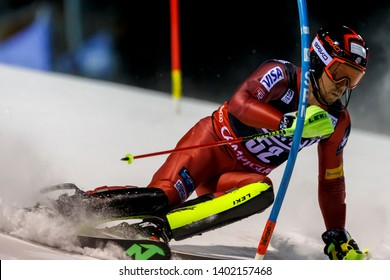 Madonna di Campiglio, Italy 22 December 2016.  ANKENY Michael (Usa) competing in the Audi Fis Alpine Skiing World Cup Men's Slalom on the 3Tre Canalone Miramonti Course in the dolomite mountain range.