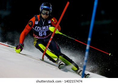 Madonna di Campiglio, Italy 22 December 2016. MARCHANT Armand (Bel) competing in the Audi Fis Alpine Skiing World Cup Men's Slalom on the 3Tre Canalone Miramonti Course in the dolomite mountain range.