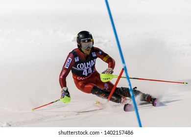 Madonna di Campiglio, Italy 22 December 2016.  ENGEL Mark (Usa) competing in the Audi Fis Alpine Skiing World Cup Men's Slalom on the 3Tre Canalone Miramonti Course in the dolomite mountain range.