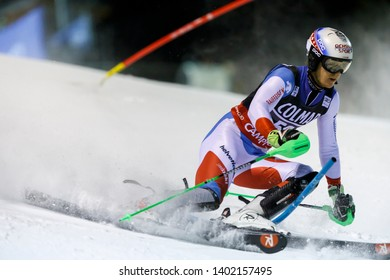 Madonna di Campiglio, Italy 22 December 2016.  SIMONET Sandro (Sui) competing in the Audi Fis Alpine Skiing World Cup Men's Slalom on the 3Tre Canalone Miramonti Course in the dolomite mountain range.