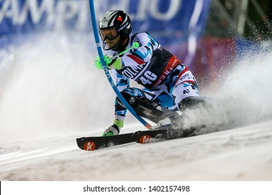 Madonna di Campiglio, Italy 22 December 2016.  RODES Istok (Cro) competing in the Audi Fis Alpine Skiing World Cup Men's Slalom on the 3Tre Canalone Miramonti Course in the dolomite mountain range.