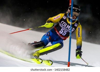 Madonna di Campiglio, Italy 22 December 2016.  JAKOBSEN Kristoffer (Swe) competing in the Audi Fis Alpine Skiing World Cup Men's Slalom on the 3Tre Canalone Miramonti Course in the dolomite mountain .