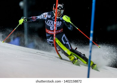 Madonna di Campiglio, Italy 22 December 2016.  ZVEJNIEKS Kristaps (Lat) competing in the Audi Fis Alpine Skiing World Cup Men's Slalom on the 3Tre Canalone Miramonti Course in the dolomite mountain .