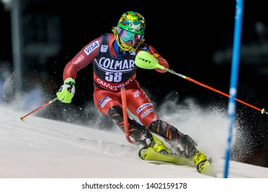 Madonna di Campiglio, Italy 22 December 2016.  GINNIS AJ (Usa) competing in the Audi Fis Alpine Skiing World Cup Men's Slalom on the 3Tre Canalone Miramonti Course in the dolomite mountain range.