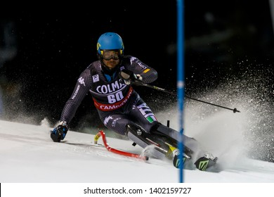 Madonna di Campiglio, Italy 22 December 2016. RONCI Giordano (Ita) competing in the Audi Fis Alpine Skiing World Cup Men's Slalom on the 3Tre Canalone Miramonti Course in the dolomite mountain range.
