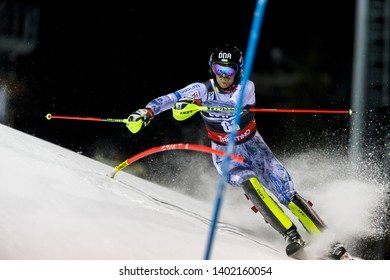 Madonna di Campiglio, Italy 22 December 2016. RASANEN Joonas (Fin) competing in the Audi Fis Alpine Skiing World Cup Men's Slalom on the 3Tre Canalone Miramonti Course in the dolomite mountain range.