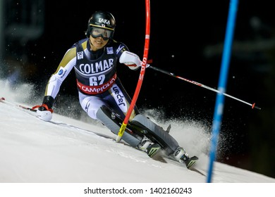 Madonna di Campiglio, Italy 22 December 2016. NARITA Hideyuki (Jpn) competing in the Audi Fis Alpine Skiing World Cup Men's Slalom on the 3Tre Canalone Miramonti Course in the dolomite mountain range.