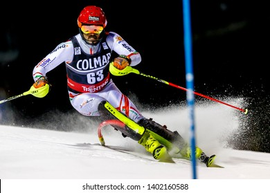 Madonna di Campiglio, Italy 22 December 2016. SAMSAL Dalibor (Hun) competing in the Audi Fis Alpine Skiing World Cup Men's Slalom on the 3Tre Canalone Miramonti Course in the dolomite mountain range.