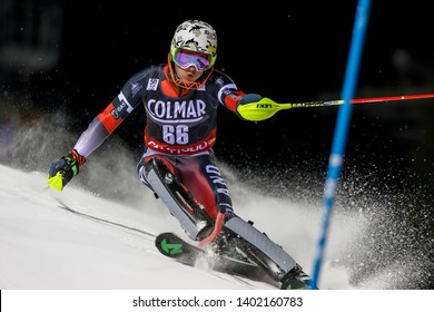 Madonna di Campiglio, Italy 22 December 2016. JASICZEK Michal (Pol) competing in the Audi Fis Alpine Skiing World Cup Men's Slalom on the 3Tre Canalone Miramonti Course in the dolomite mountain range.