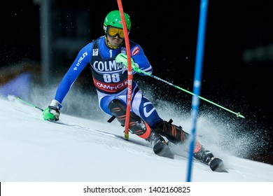 Madonna di Campiglio, Italy 22 December 2016. FALAT Matej (Svk) competing in the Audi Fis Alpine Skiing World Cup Men's Slalom on the 3Tre Canalone Miramonti Course in the dolomite mountain range.