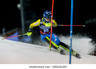 Madonna di Campiglio, Italy 22 December 2016. ROENNGREN Mattias (Swe) competing in the Audi Fis Alpine Skiing World Cup Men's Slalom on the 3Tre Canalone Miramonti Course in the dolomite mountain .