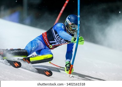 Madonna di Campiglio, Italy 22 December 2016. BIRKNER DE MIGUEL Tomas (Arg) competing in the Audi Fis Alpine Skiing World Cup Men's Slalom on the 3Tre Canalone Miramonti Course in the dolomite mountai