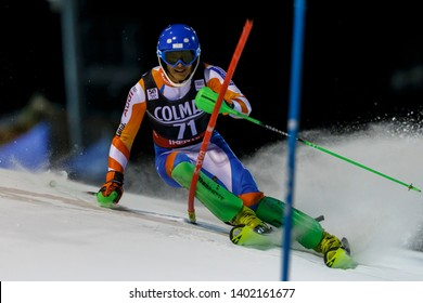 Madonna di Campiglio, Italy 22 December 2016. WINKELHORST Steffan (Ned) competing in the Audi Fis Alpine Skiing World Cup Men's Slalom on the 3Tre Canalone Miramonti Course in the dolomite mountain .