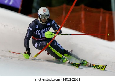 Madonna di Campiglio, Italy 22 December 2016.  Federico LIBERATORE (Ita) Forerunners in the Audi Fis Alpine Skiing World Cup Men's Slalom on the 3Tre Canalone Miramonti Course in the dolomite mountain