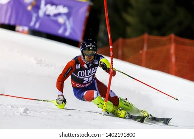 Madonna di Campiglio, Italy 22 December 2016.  RYDING Dave (Gbr) competing in the Audi Fis Alpine Skiing World Cup Men's Slalom on the 3Tre Canalone Miramonti Course in the dolomite mountain range.