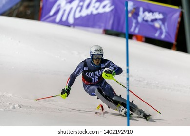 Madonna di Campiglio, Italy 22 December 2016.  MUFFAT-JEANDET Victor (Fra) competing in the Audi Fis Alpine Skiing World Cup Men's Slalom on the 3Tre Canalone Miramonti Course in the dolomite mountain