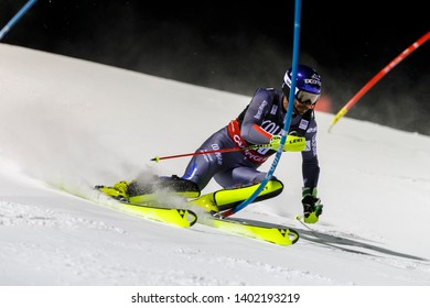 Madonna di Campiglio, Italy 22 December 2016.  CAVIEZEL Gin GRANGE Jean-Baptiste (Fra) competing in the Audi Fis Alpine Skiing World Cup Men's Slalom on the 3Tre Canalone Miramonti Course.