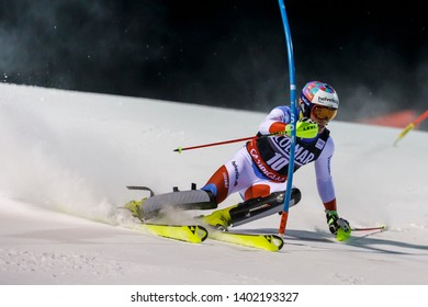 Madonna di Campiglio, Italy 22 December 2016.  YULE Daniel (Sui) competing in the Audi Fis Alpine Skiing World Cup Men's Slalom on the 3Tre Canalone Miramonti Course in the dolomite mountain range.