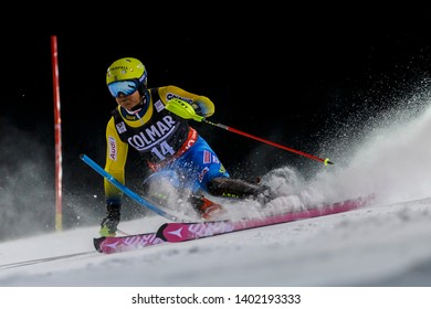 Madonna di Campiglio, Italy 22 December 2016.  HARGIN Mattias (Swe) competing in the Audi Fis Alpine Skiing World Cup Men's Slalom on the 3Tre Canalone Miramonti Course in the dolomite mountain range.