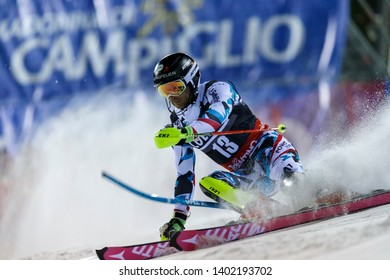 Madonna di Campiglio, Italy 22 December 2016.  DIGRUBER Marc (Aut) competing in the Audi Fis Alpine Skiing World Cup Men's Slalom on the 3Tre Canalone Miramonti Course in the dolomite mountain range.