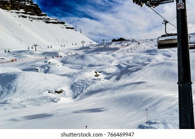 MADONNA DI CAMPIGLIO, ITALY, January 09 2015: An aerial view from ski lift over the top of one of the most beautiful hills and ski slopes at Madonna di Campiglio, Italy.