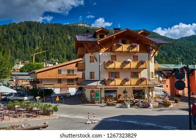 MADONNA DI CAMPIGLIO, ITALY-20 October 2018:Madonna di Campiglio's main square in the summertime, Madonna di Campiglia is the most famous ski resort in the Dolomites, Italy.