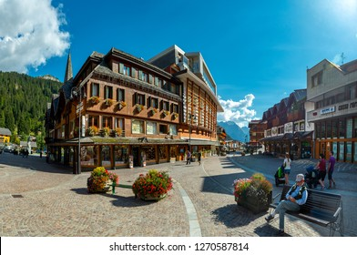 MADONNA DI CAMPIGLIO, ITALY-20 October 2018:Madonna di Campiglio's main square in the summertime, Madonna di Campiglia is the most famous ski resort in the Dolomites, Italy.