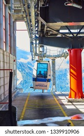 MADONNA DI CAMPIGLIO, ITALY-20 October 2018:Cable car the Groste-pass, Madonna di Campiglio,Madonna di Campiglio in the summertime, Italy,Northern & Central Brenta mountain groups
