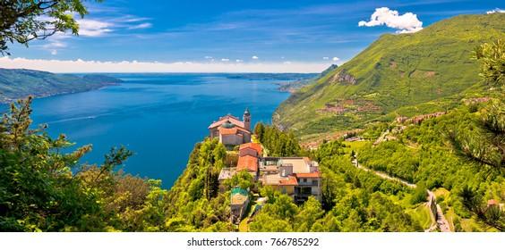 Madonna di Montecastello hermitage above Lago di Garda view, Lombardy, Italy