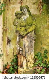 Madonna with her Child on the old Prague Cemetery, Czech republic