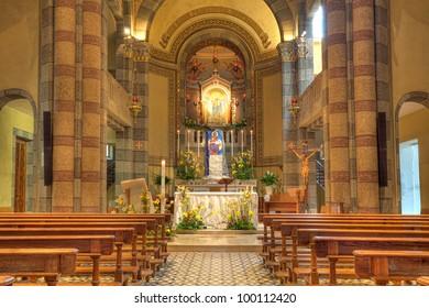 Madonna Moretta Catholic church interior view in Alba, Northern Italy.