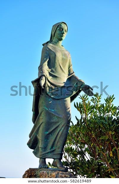 Madonna statue at St. George Church Portofino