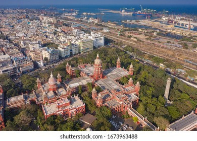 Madras High Court / Chennai High Court - The oldest High Courts of India. Aerial view of Chennai City. Aerial view of Madras High Court, Chennai