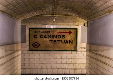 Madrid; 05 10 2019: Former Metro Station of Chamberi (Madrid)