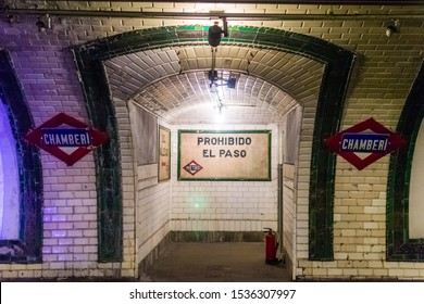 Madrid; 05 10 2019: Former Metro Station of Chamberi (Madrid)