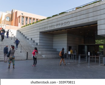 Madrid - 7 October 2015: People at the entrance to the National Prado Museum - one of the largest and most important museums of European art October 7th, 2015, Madrid, Spain