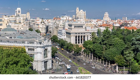 Madrid Aerial Cityscape from rooftop, Spain