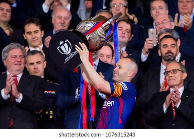 MADRID - APR 21: Andres Iniesta celebrates the title at the Copa del Rey final match between Sevilla FC and FC Barcelona at Wanda Metropolitano Stadium on April 21, 2018 in Madrid, Spain.