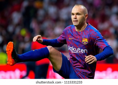 MADRID - APR 21: Andres Iniesta plays at the Copa del Rey final match between Sevilla FC and FC Barcelona at Wanda Metropolitano Stadium on April 21, 2018 in Madrid, Spain.