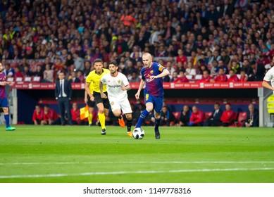 MADRID - APR 21: Andres Iniesta plays at the Copa del Rey final match between Sevilla FC and FC Barcelona at Wanda Metropolitano Stadium on April 21, 2018 in Madrid, Spain.