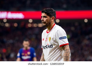 MADRID - APR 21: Banega plays at the Copa del Rey final match between Sevilla FC and FC Barcelona at Wanda Metropolitano Stadium on April 21, 2018 in Madrid, Spain.
