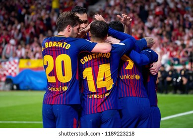 MADRID - APR 21: Barcelona players celebrate a goal at the Copa del Rey final match between Sevilla FC and FC Barcelona at Wanda Metropolitano Stadium on April 21, 2018 in Madrid, Spain.