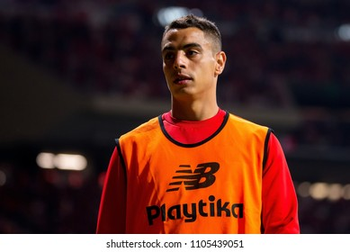 MADRID - APR 21: Ben Yedder plays at the Copa del Rey final match between Sevilla FC and FC Barcelona at Wanda Metropolitano Stadium on April 21, 2018 in Madrid, Spain.
