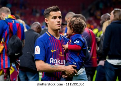 MADRID - APR 21: Coutinho celebrates the title consecution with his family at the Copa del Rey final at Wanda Metropolitano Stadium on April 21, 2018 in Madrid, Spain.
