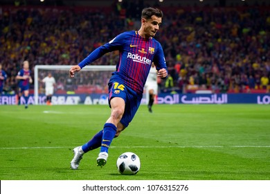 MADRID - APR 21: Coutinho plays at the Copa del Rey final match between Sevilla FC and FC Barcelona at Wanda Metropolitano Stadium on April 21, 2018 in Madrid, Spain.