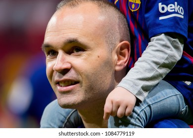 MADRID - APR 21: Iniesta celebrates the title consecution at the Copa del Rey final match between Sevilla FC and FC Barcelona at Wanda Metropolitano Stadium on April 21, 2018 in Madrid, Spain.