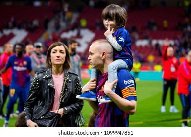 MADRID - APR 21: Iniesta celebrates with his family at the Copa del Rey final match between Sevilla FC and FC Barcelona at Wanda Metropolitano Stadium on April 21, 2018 in Madrid, Spain.