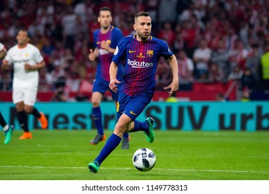 MADRID - APR 21: Jordi Alba plays at the Copa del Rey final match between Sevilla FC and FC Barcelona at Wanda Metropolitano Stadium on April 21, 2018 in Madrid, Spain.