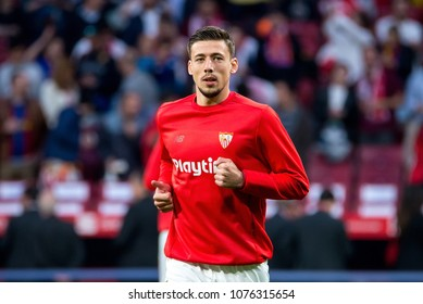MADRID - APR 21: Lenglet plays at the Copa del Rey final match between Sevilla FC and FC Barcelona at Wanda Metropolitano Stadium on April 21, 2018 in Madrid, Spain.